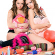 Two offended young women. Isolated — Stock Photo