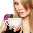 Lovely young blonde with a cup — Stock Photo