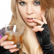 Sexy young blonde with a glass — Stock Photo #6979327