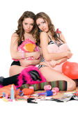 Two offended young women. Isolated — Foto Stock