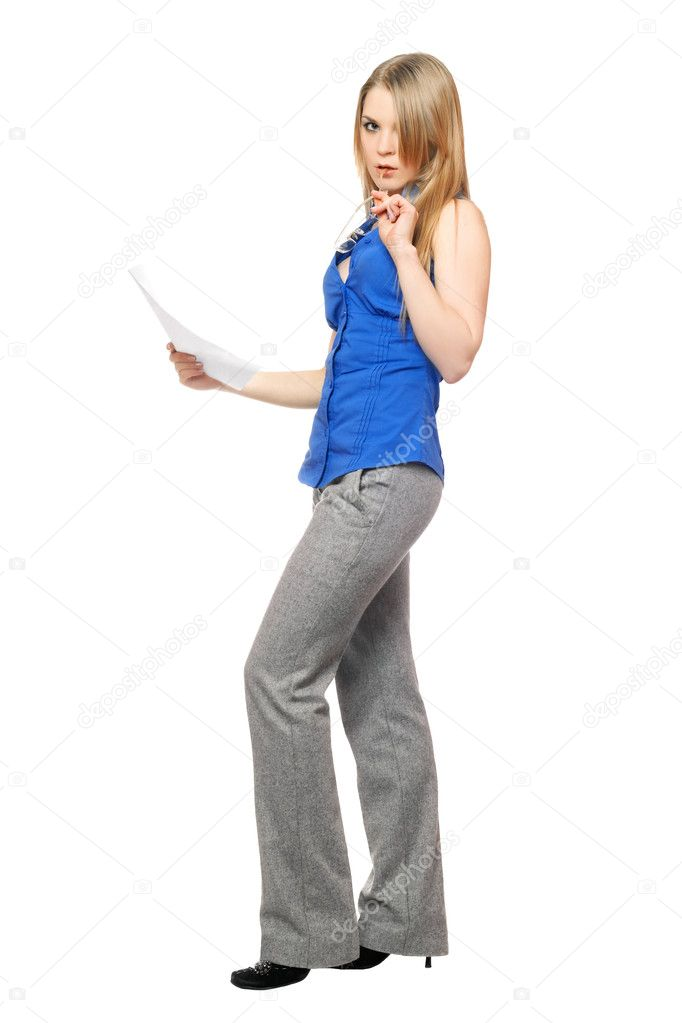 Thoughtful young business woman with a paper document — Stock Photo #6979178