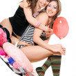 Two smiling young girlfriends. Isolated — Stock Photo