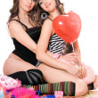 Two lovely young girlfriends. Isolated — Stock Photo