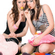Two pretty girls with candy. Isolated — Stock Photo #6993387