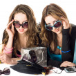 Two smiling beautiful girlfriends in sunglasses — Stock Photo