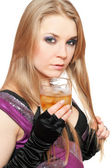 Sexy young blonde with a glass of whiskey — Stock Photo