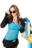 Mooie jonge vrouw na het winkelen. geïsoleerd op wit — Stockfoto