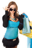 Young woman after shopping. Isolated on white — Stock Photo