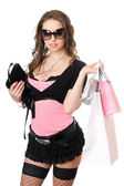 Gelukkig jonge vrouw na het winkelen. geïsoleerd — Stockfoto