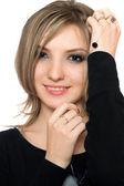 Porträtt av en ung kvinna som ganska lekfull — Stockfoto