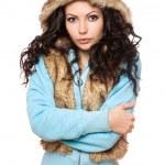 Portrait de parfaite jeune brune dans la hotte. isolé — Photo