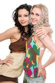 портрет двух привлекательных молодых женщин. изолированные — Стоковое фото