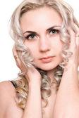 Retrato de jovem loira. isolado — Foto Stock