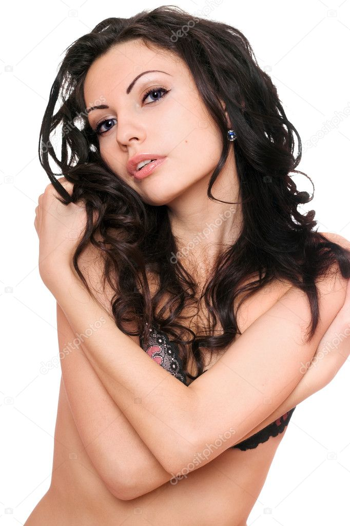 Portrait of pretty sensual young brunette. Isolated — Stock Photo #7228435