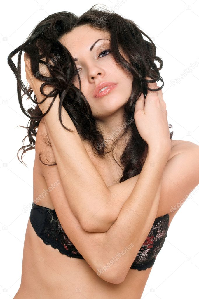 Portrait of sensual sexy brunette. Isolated on white background — Stock Photo #7228638
