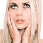Closeup Portrait junge Blondine. isoliert — Stockfoto