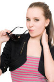 Portrait of pretty young woman with sunglasses — Stock Photo