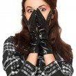 Portrait of frightened young woman in a checkered jacket — Stock Photo
