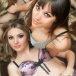 Portrait of two beautiful young girlfriends in lingerie — Stock Photo