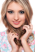 Closeup portrait of smiling young blonde. Isolated — Stock Photo