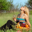 Pretty blonde with wineglass — Stock Photo