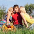 Two playful blonde and young man — Stock Photo