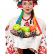 Young woman in the Ukrainian national clothes - Stock Photo