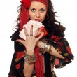 Portrait of gypsy woman with cards - Foto Stock