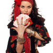 Portrait of gypsy woman with cards - Stok fotoğraf