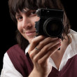 Smiling photographer with the vintage camera — Stock Photo