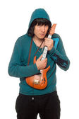 Man with a little guitar — Stock Photo