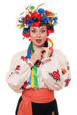 Surprised woman in the Ukrainian national clothes — Stock Photo