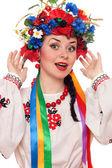 Glad kvinna i ukrainska nationella kläder — Stockfoto