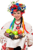 Young woman in the Ukrainian national clothes — Stock Photo