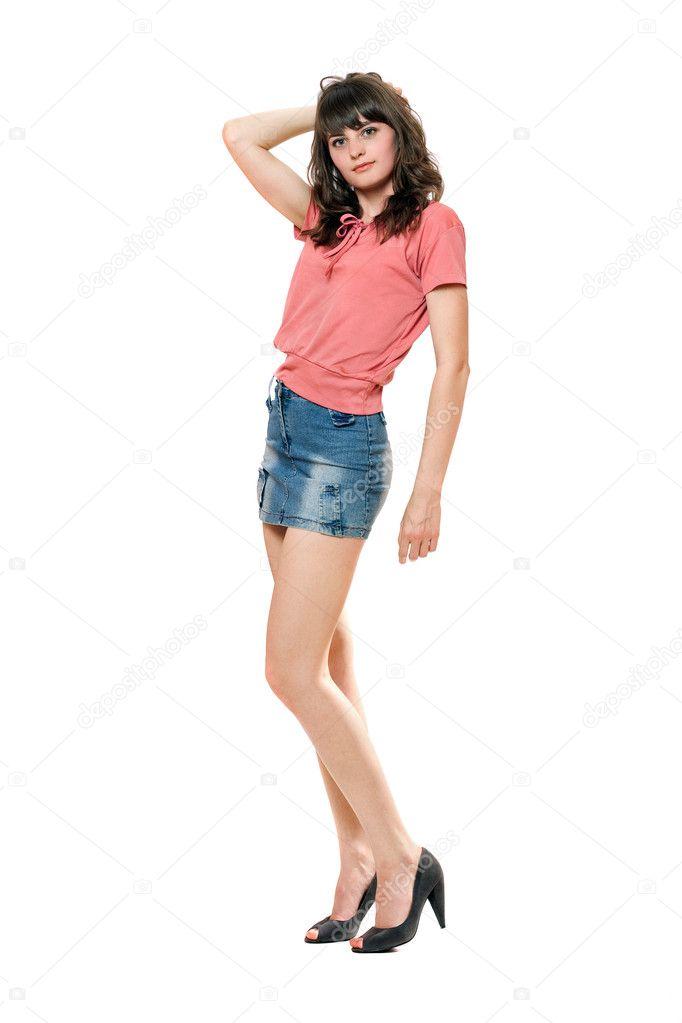 jolie fille en mini jupe jeans photographie acidgrey 7575209. Black Bedroom Furniture Sets. Home Design Ideas