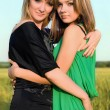 Two embracing smiling pretty girls - Stockfoto