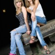Two pretty girls sitting on a stone - Stockfoto