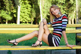 Leggy pretty young blonde — Stock Photo