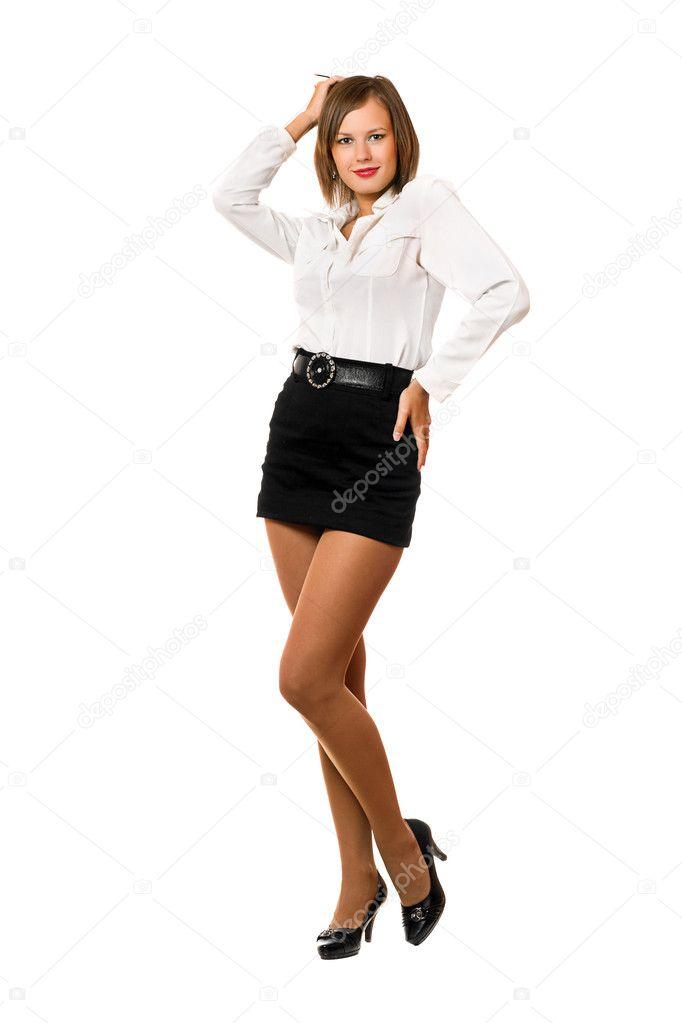 русская девушка в белом юбке фото