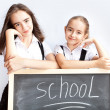 Schoolgirls about a schoolboard — Stock Photo