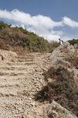 Path through mountains ,stone step close up — Stock Photo