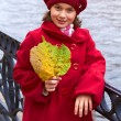 Little girl with autumn yellow leaves. Outdoor. — Stock Photo #7813433
