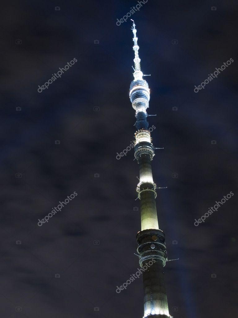夜空にオスタンキノ ・ タワー– ストック画像