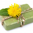 Natural soap with dandelions — Stock Photo