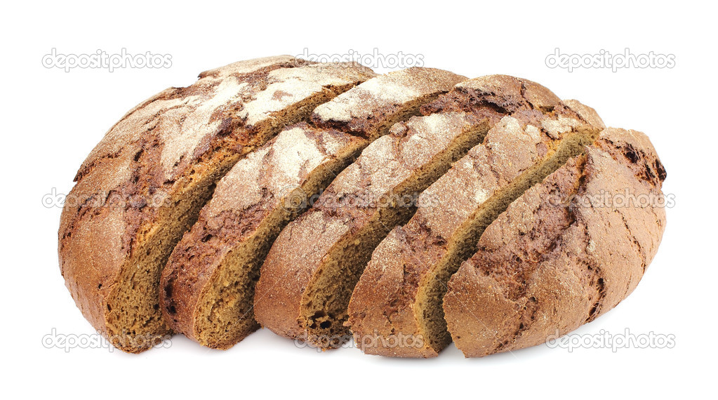 Segments of house gray bread on a white background — Stock Photo #7513616