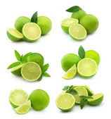 Collage of juice lime — Stock Photo