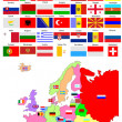 Map of Europe with country flags — Stock Vector