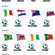 icons football teams world cup in 2010 according to groups. grou — Stock Vector