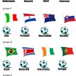 Icons football teams World Cup in 2010 according to groups. Grou — Image vectorielle