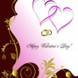 Greeting floral valentine`s day with hearts. Vector. - Stock Vector